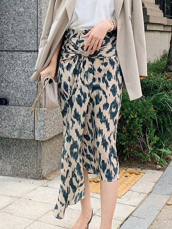 leopard twisted skirt (2cololr)